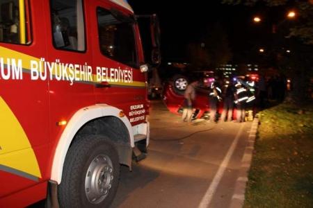 Erzurum'da kazalı gece! 2