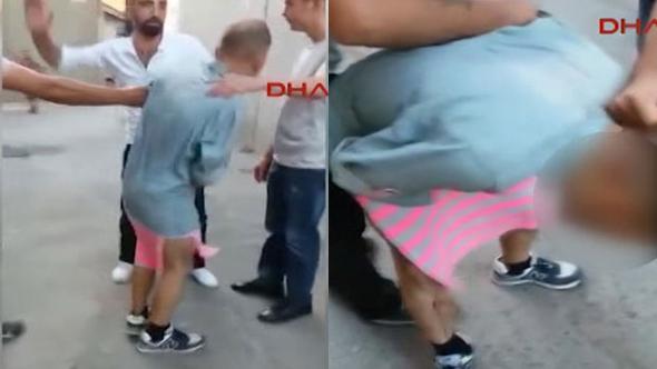 Mahalleli etek giydirip döve döve sokakta dolaştırdı