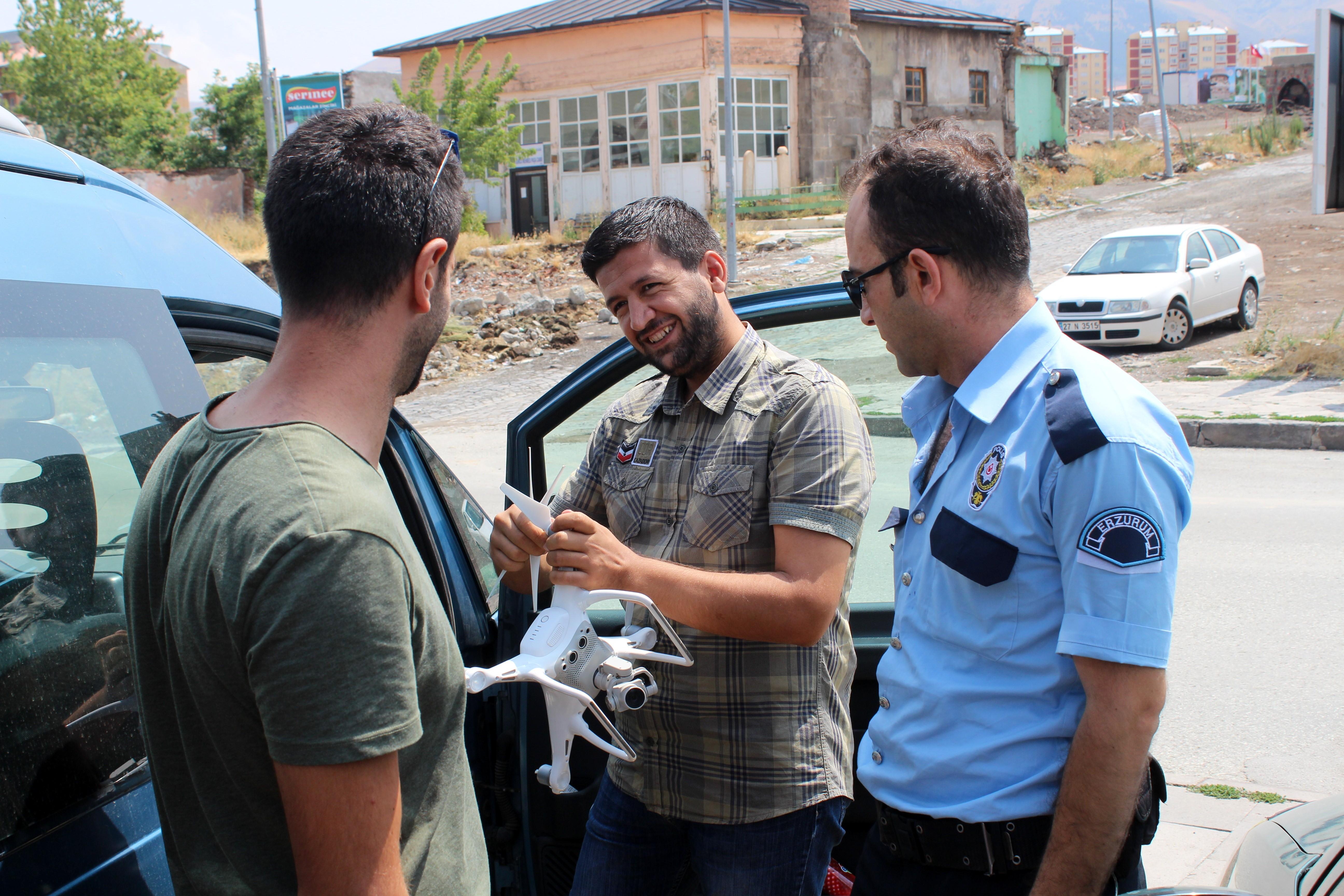 Erzurum'da İzinsiz drone uçuran şahıs gözaltına alındı