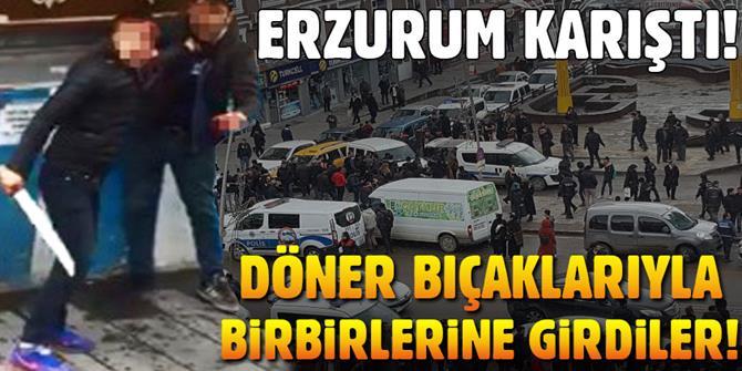 Erzurum'da İki Grubun Kavgası Trafiği Kilitledi
