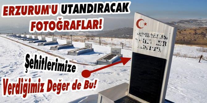 Erzurum'da şehitlikten utandıran görüntüler