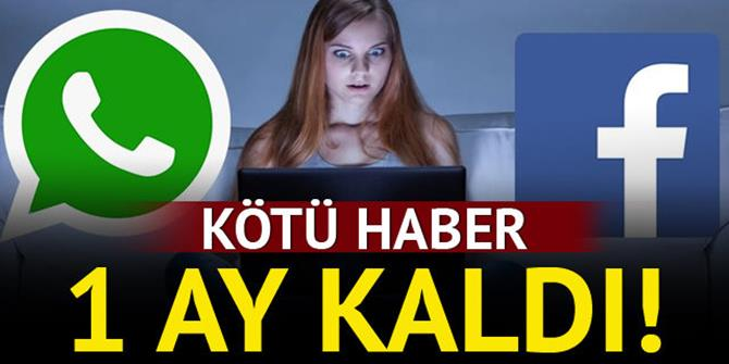 WhatsApp ve Facebook'a 1 ay süre