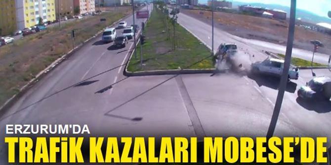 Erzurum'da Trafik Kazaları Mobese'ye Yansıdı