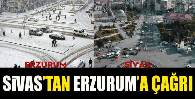 Sivas'ın Esprili Kar Çağrısına Erzurum'dan Cevap