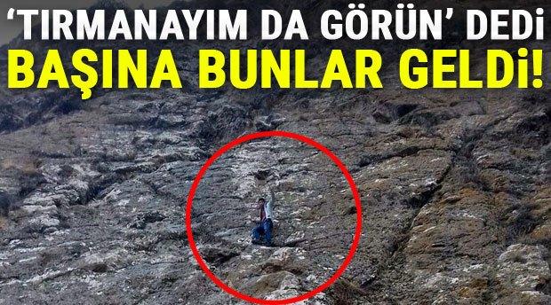 Erzurum'da kayada mahsur kaldı