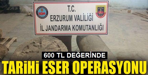 Erzurum'da 600 bin TL değerinde 22 parça tarihi eser ele geçirildi