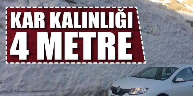Erzurum'da Baharda 4 metre karla mücadele