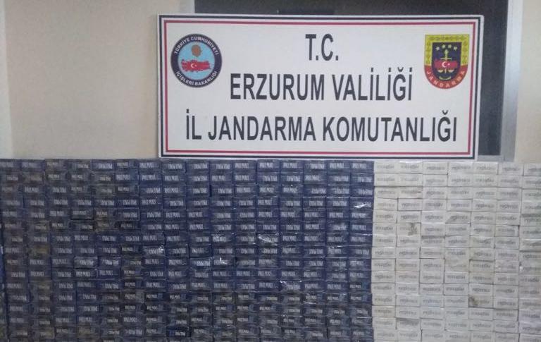 Köprüköy'de 5 bin 300 paket kaçak sigara ele geçirildi