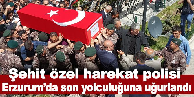 Şehit özel harekat polisi Erzurum'da son yolculuğuna uğurlandı