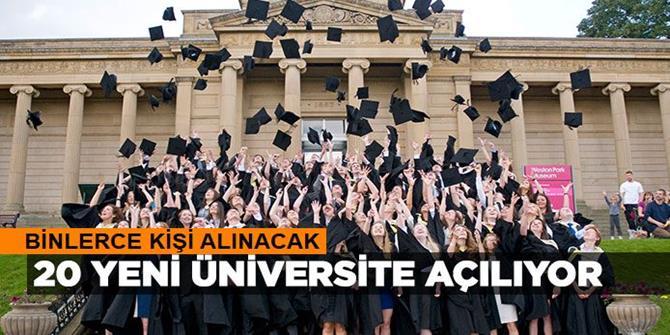 20 yeni üniversite için açılacak kadroların tam listesi