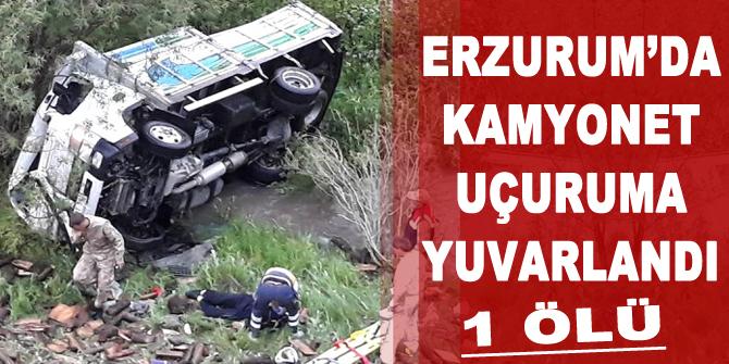 Erzurum'da kamyonet uçuruma yuvarlandı