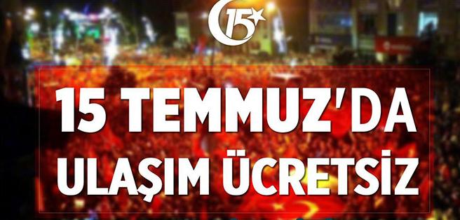 Erzurum'da 15 Temmuz'da Toplu Taşıma Ücretsiz