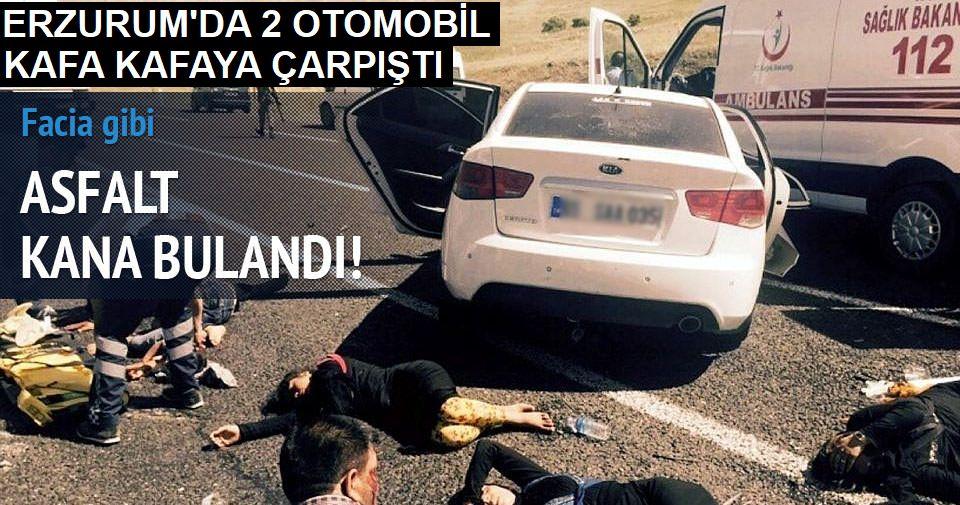 Tekman'da otomobiller kafa kafaya çarpıştı: 12 yaralı