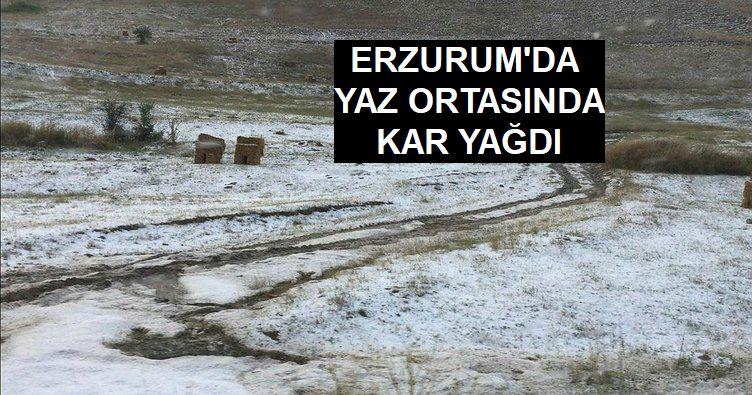 Erzurum'da yaz ortasında kar yağdı