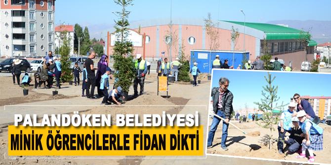 Palandöken Belediyesi, minik öğrencilerle fidan dikti