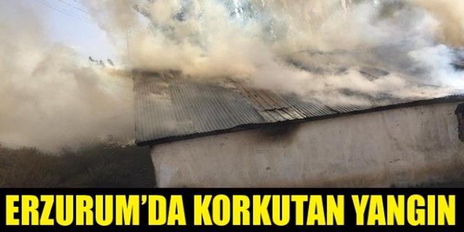 Erzurum'da korkutan yangın, 1 ev ve bin 200 balya ot kül oldu