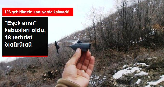 """18 PKK'lı Terörist, """"Eşek Arısı"""" Olarak Bilinen Drone ile Öldürüldü"""