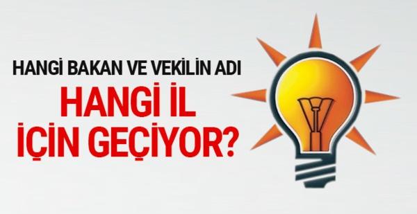 AK Parti'de hangi bakan ve vekilin adı hangi il için geçiyor?