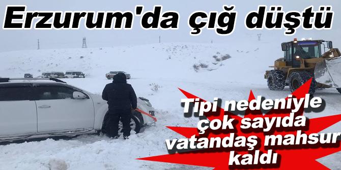 Erzurum'da çığ düştü
