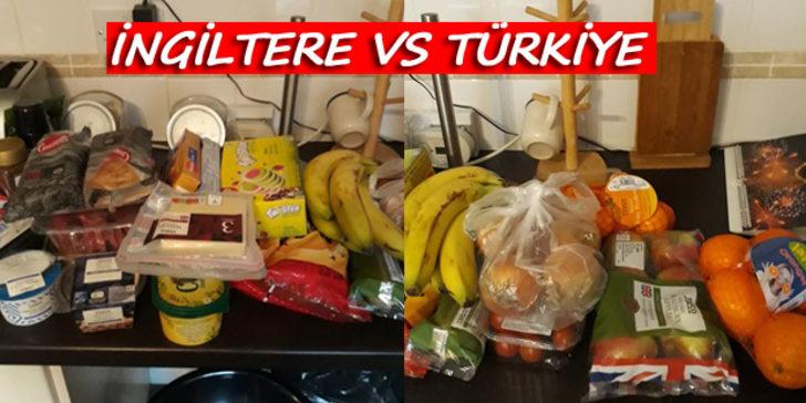 İngiltere ve Türkiye'de yapılan aynı market alışverişinin fiyat ve asgari ücret karşılaştırması