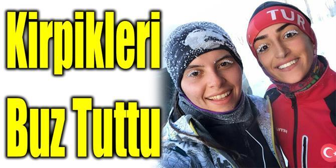Erzurum'da kirpikler buz tuttu