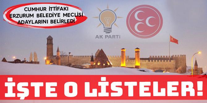 İşte Erzurum'da Ak Parti ve MHP'nin belediye meclis üyesi adayları