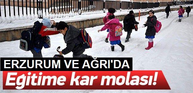 Ağrı ve Erzurum'da eğitime kar engeli