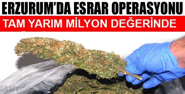 Erzurum'da yarım milyon liralık reçine esrar ele geçirildi
