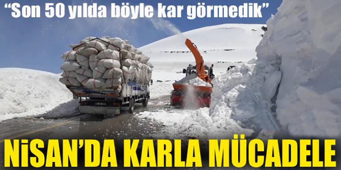 Erzurum'da Nisan ayında karla mücadele çalışması