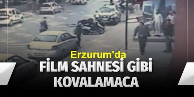 Erzurum'da Silahla ateş ederek hasmını böyle kovaladı