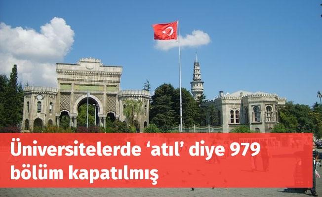 Üniversitelerde 979 bölüm atıl diye kapatılmış