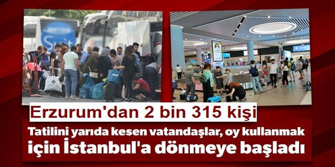 Erzurum'dan 2 Bin 315 İstanbul seçimleri için uğurlandı