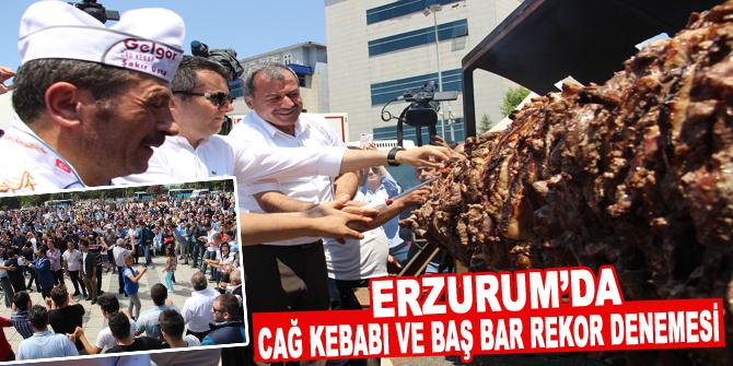 Erzurum'da Cağ kebabı ve Baş bar rekor denemesi