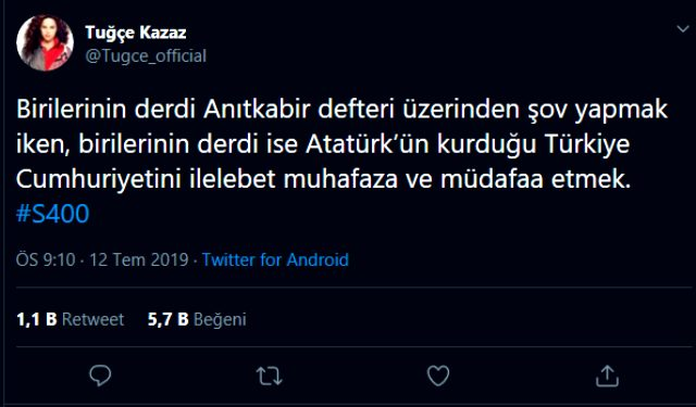 Tuğçe Kazaz'dan Anıtkabir'i ziyaret eden Ekrem İmamoğlu'na S-400 göndermesi