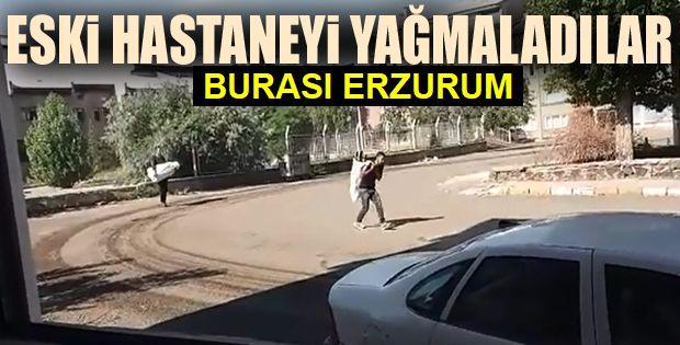 Erzurum'da Hırsızlar çuvallarla eski hastaneyi yağmaladı
