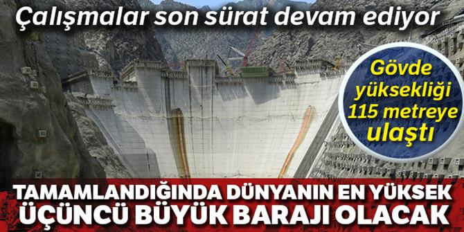 Yusufeli Barajı'nda gövde yüksekliği 115 metreye ulaştı