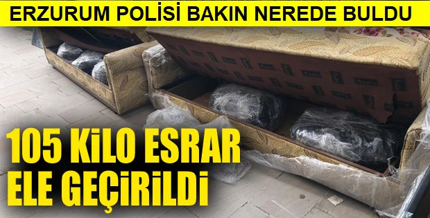 Erzurum'da 105 kilogram esrar ele geçirildi