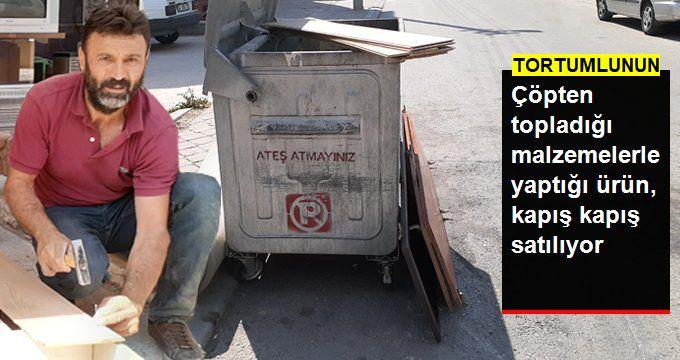 Çöpten topladığı tahta, sünger ve parkelerden baza yapıp satıyor