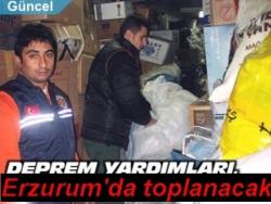 Uluslararası yardımlar Erzurum'a