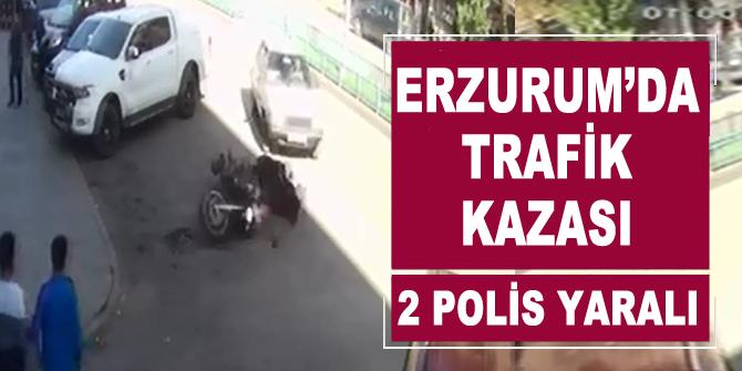 Sürücü polis motosikletine çarptı: 2 yaralı