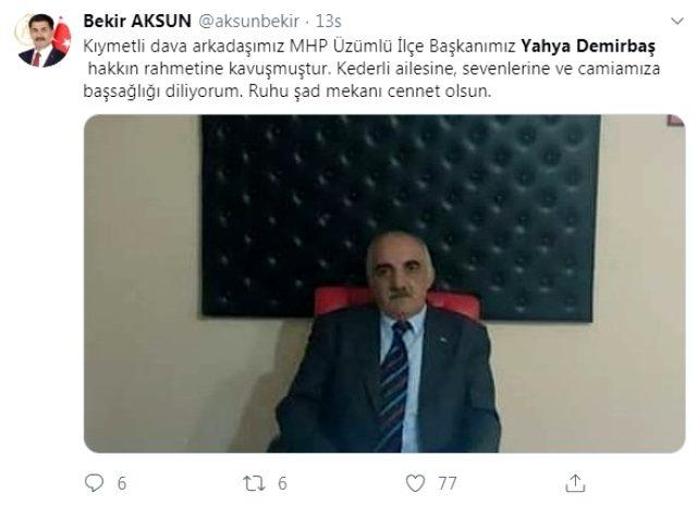 MHP Üzümlü İlçe Başkanı Yahya Demirbaş hayatını kaybetti