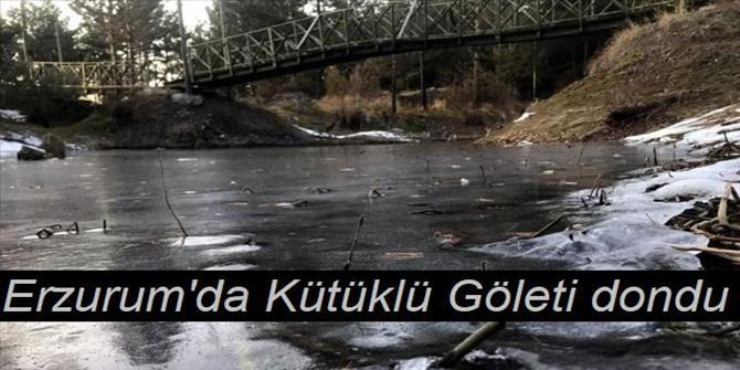Erzurum'da Kütüklü Göleti dondu
