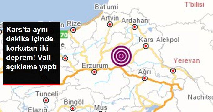 Sarıkamış ilçesinde aynı dakika içerisinde iki deprem oldu