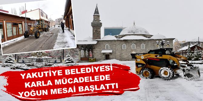 Yakutiye Belediyesi karla mücadelede yoğun mesai başlattı