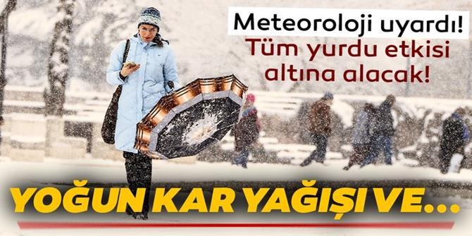 Meteoroloji'den son dakika kar yağışı ve hava durumu uyarısı geldi!