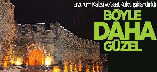 Erzurum Kalesi ile 844 yıllık saat kulesi ışıklandırıldı