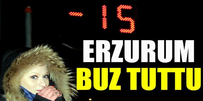 Erzurum'da şadırvanlar buz tuttu,