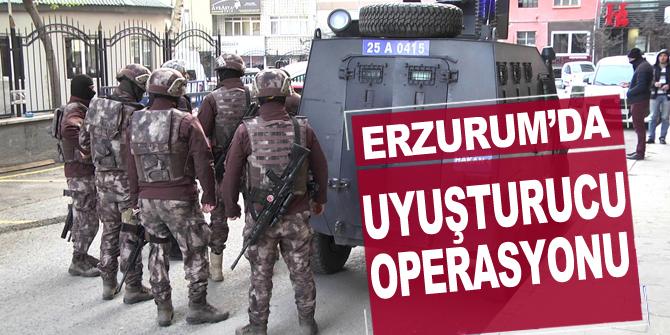 """Erzurum'da uyuşturucu satıcılarına özel harekat destekli """"şafak"""" operasyonu"""