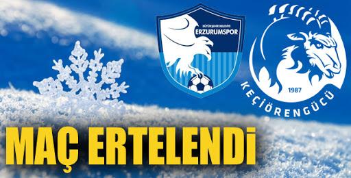 Erzurumspor-Keçiörengücü maçı kar nedeniyle ertelendi