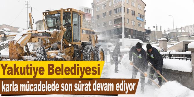Yakutiye Belediyesi karla mücadelede son sürat